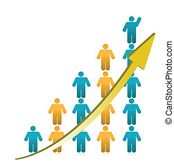 grafiek, het tonen, groei, mensen