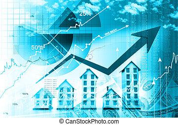 grafiek, huisvesting, markt