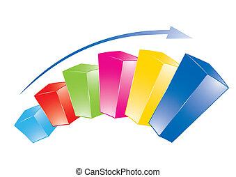 grafiek, kleurrijke