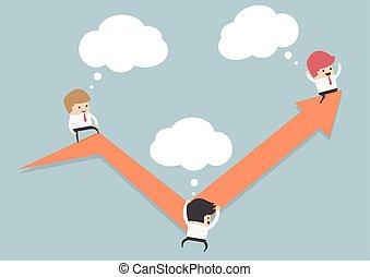 grafiek, lijn, zakenlieden