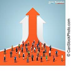 grafiek, mensenmassa