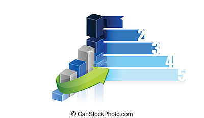grafiek, ontwerp, handel illustratie, stappen