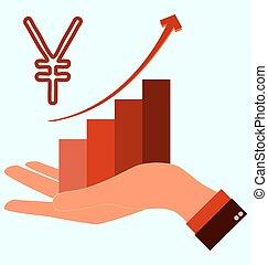 grafiek, opstand, yen