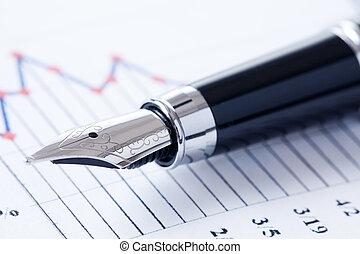 grafiek, pen, zakelijk