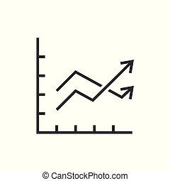 grafiek, pijl, tabel, twee