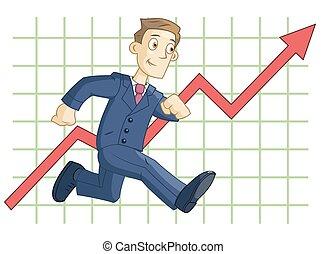 grafiek, rennende , achtergrond, zakelijk, zakenman