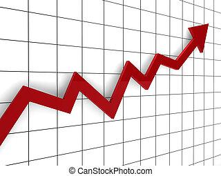 grafiek, richtingwijzer, rood, 3d