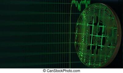 grafiek, scherm, bitcoin, computer, opstand, het vallen, weerspiegelt