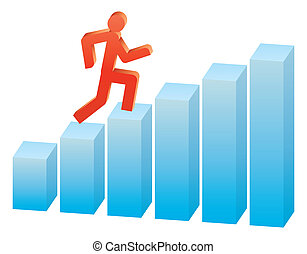 grafiek, uitvoeren, op, zakenlui