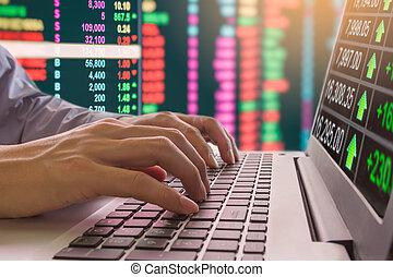 grafiek, van, aandelenmarkt gegevens, en, financieel, met, de, aanzicht, van, leidene vertoning, concept, dat, suitable, voor, achtergrond, incluis, liggen, opleiding, of, marketing, analysis.