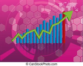 grafiek, van, groei, in, investering