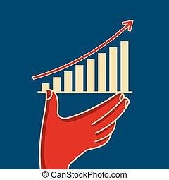 grafiek, vasthouden, zakelijk, hand