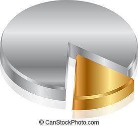 grafiek, vector, zilver, goud, &
