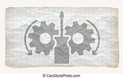 grafiek, verfrommeld papier, tandwielen, schroevendraaier