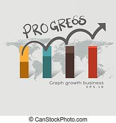 grafiek, voortgang, zakelijk, groeiende, abstract, groei, concept., succes, wijzende, ontwikkeling, collectief, wereld, plan., toekomst, achtergrond., map., richtingwijzer