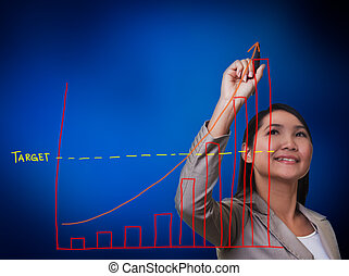 grafiek, vrouw, groei, tekening, hand