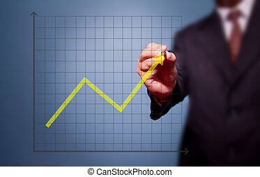 grafiek, zakelijk, op, tekening, doel, man, prestatie