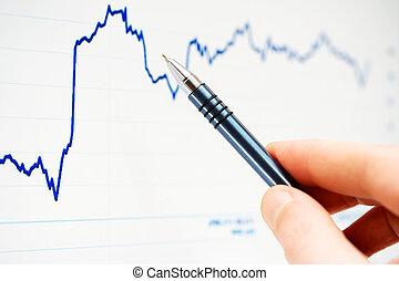 grafieken, controle, markt, liggen
