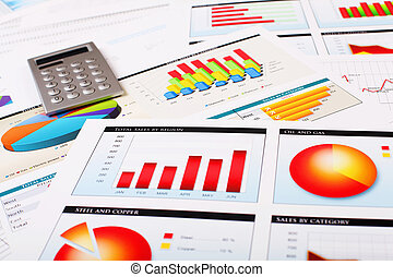 grafieken, diagrammen, zakelijk, tafel.