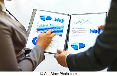 grafieken, en, diagrammen, geanalyseerde