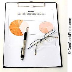 grafieken, en, diagrammen, rapport