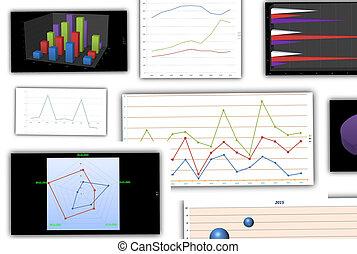 grafieken, en, diagrammen