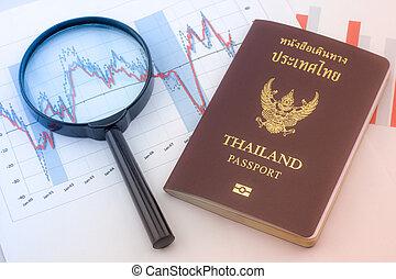 grafieken, vergrootglas, en, thailand, passport., analyse, diagrammen, en, grafieken, van, sales.