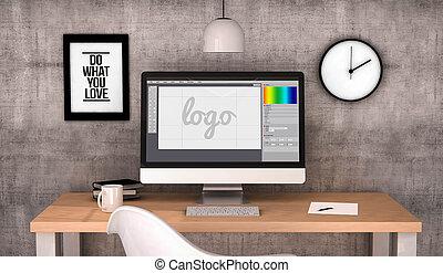 grafik, arbeitsbereich, computerdesign