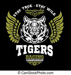 grafik, -, arm, tiger, sport., mærkaten, etikette, motor,...