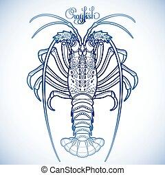 grafik, crayfish, vektor