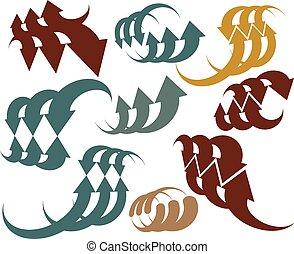 grafik, farbe, set., sammlung, pfeile, schablonen, symbol, ledig, vektor, design, abstrakt, ikone