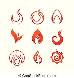 grafik, feuer, symbol, satz, flamme, design