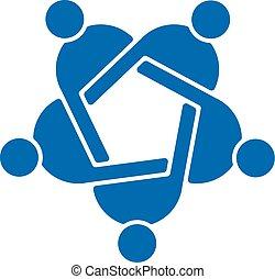 grafik, folk, vektor, teamwork, fem, logo.