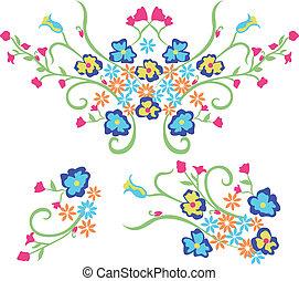 grafik formge, blomma, broderi