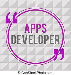 grafik, geschaeftswelt, developer., künstler, foto, ausstellung, apps, schreibende, experten, text, begrifflich, programmierer, hand, analytiker, software