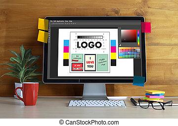 grafik, illustrator, arbeitende , work., farbe, tablette, kreativ, entwerfer, digital, swatch, edv, proben