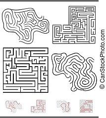grafik, labyrint, lek, lösningar, fritid, sätta
