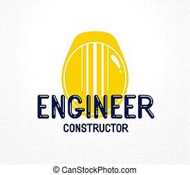 grafik, logo, gelber , baugewerbe, sicherheitshelm, stilvoll, industrielles design, ikone, oder, element., ingenieur