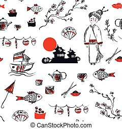 grafik, mønster, -, seamless, hånd, symboler, japan, stram