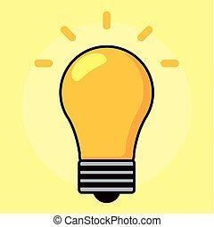 grafik, magt, lys, energi, gul, vektor, pære, icon.