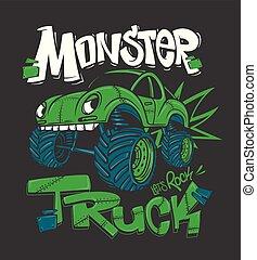grafik, monster, illustration, t-shirt, vektor, truck.