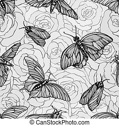 grafik, muster, seamless, vlinders, vektor, roses., stilvoll, druck, monochrom, wiederholen, texture.