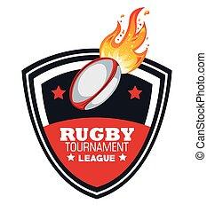 grafik, rugby, feuerflammen, turnier, kugel, emblem