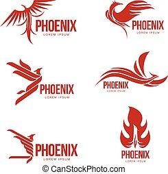 grafik, sæt, phoenix, illustration, fugl, stylized, vektor, logo, skabeloner