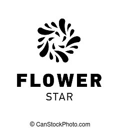 grafik, stjerne, symbol, vektor, blomst, skabelon, logo, design.