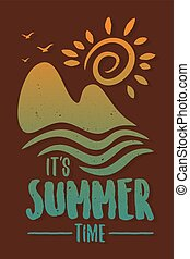 grafik, vektor, design, begriff, zeit, sommer, tropica, ...