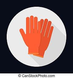 grafik, vektor, handschuhe, sicherheit, sicherheit, icon.