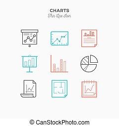 grafika, táblázatok, infographic, és, több, sovány megtölt, szín, ikonok, állhatatos, vektor, ábra