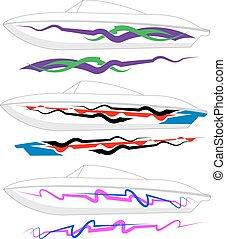 grafika, vonal, hajlandó, :, csónakázik, vinyl