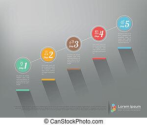 grafikus, ügy, modern, lábnyom, vektor, tervezés, sablon, infographics, opciók